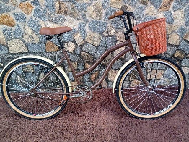 Bicicleta Aro 26 Mod Beach Retro Feminina C/ Cesta Marrom - Foto 6