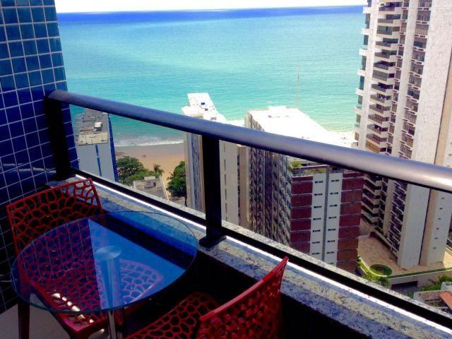 2 quartos mobiliado alto luxo de frente ao mar