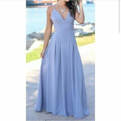 0e29f532cb9 Vestido longo azul bebê