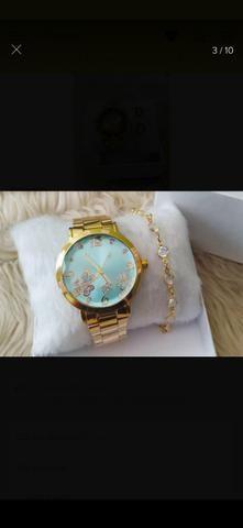 Relógio+pulseira folhada - Foto 6