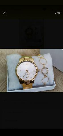 Relógio+pulseira folhada - Foto 4