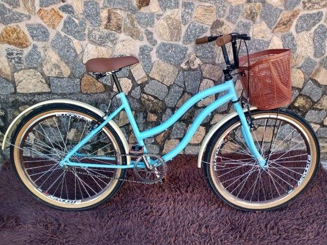 Bicicleta Aro 26 Mod Beach Retro Feminina C/ Cesta Marrom - Foto 2