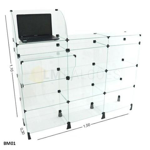 Balcao Caixa de Vidro 1,50 x 1,10 x0 ,30 Frete e Montagem gratis