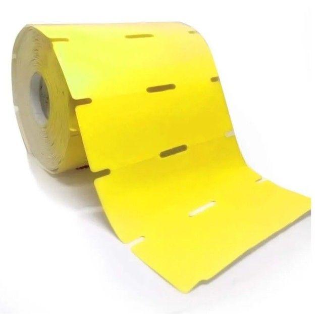 2 rolo etiqueta gondola 90x30 (9x3) couche serrilha picote universal 1000 universal rolo. - Foto 2