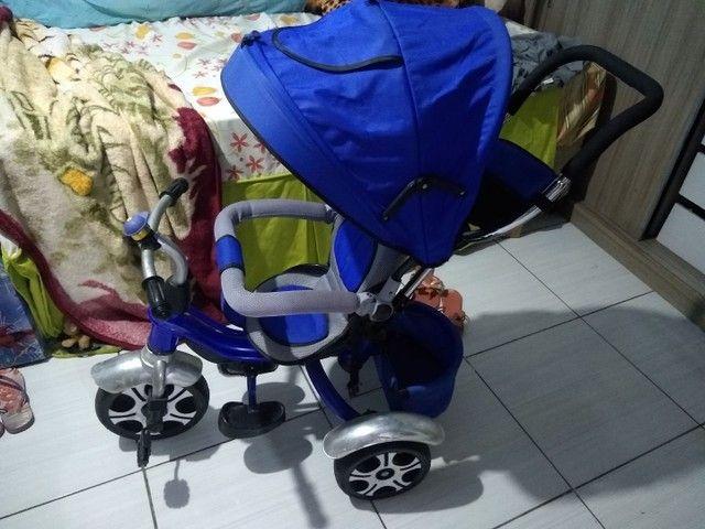 Carrinho de passeio reversível vira triciclo bicicleta 3 rodas depois com buzina - Foto 6