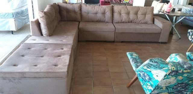 Sofa de canto athenas gigantesco 3.32x2.06 puff enorme apenas 1400 a vista - Foto 5