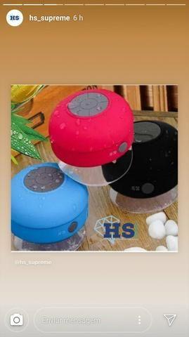 Caixinha de som via Bluetooth resistente a água