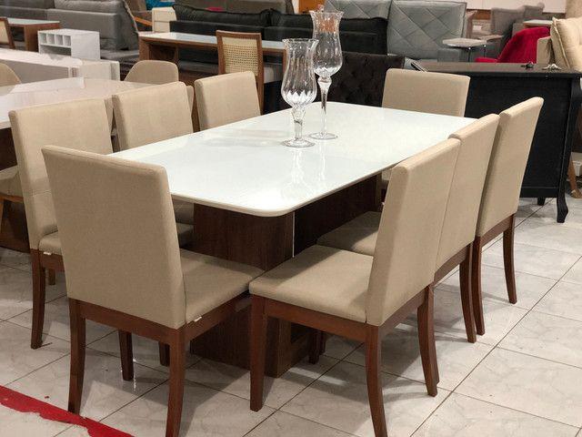 Sala de jantar RAVEL para 8 pessoas cadeiras de madeira maciça