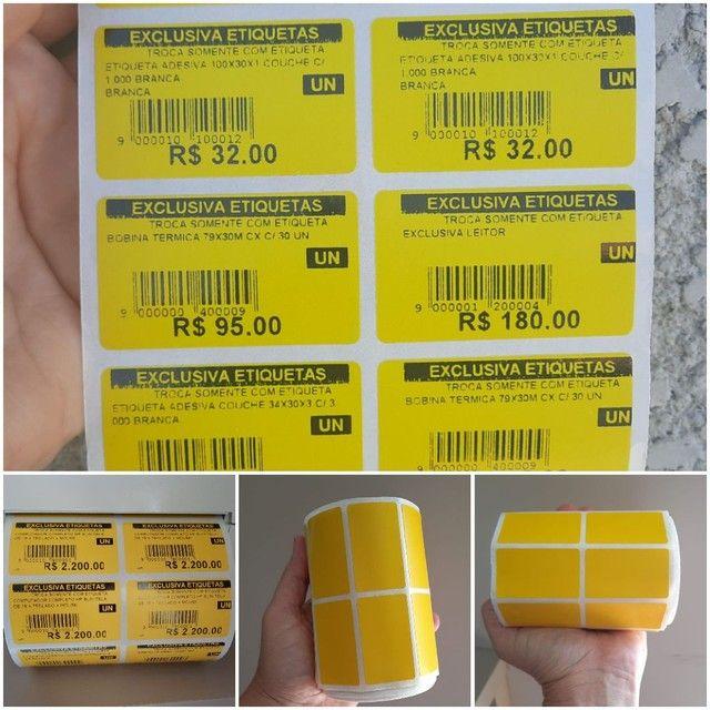 2 rolo etiqueta 50x30 (5x3) adesiva amarelo couche com 3.000 un por rolo. - Foto 5