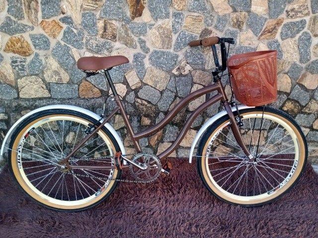 Bicicleta Aro 26 Mod Beach Retro Feminina C/ Cesta Marrom - Foto 4