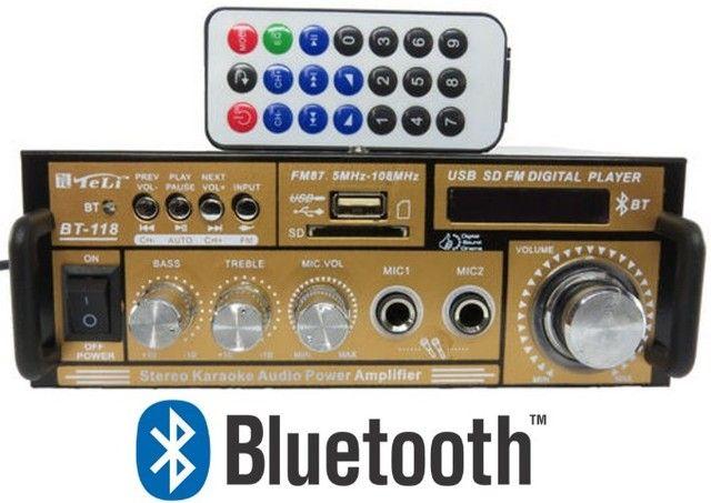 Mini amplificador modulo teli Bt-118 com bluetooth karaokê - Foto 3