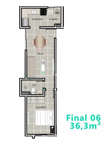 Apartamento de 01 quarto ao lado do Parque Parahyba II - Foto 3