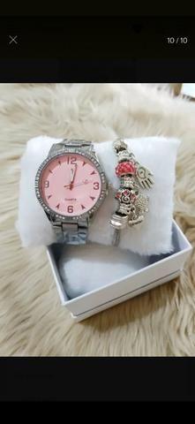 Relógio+pulseira folhada - Foto 2