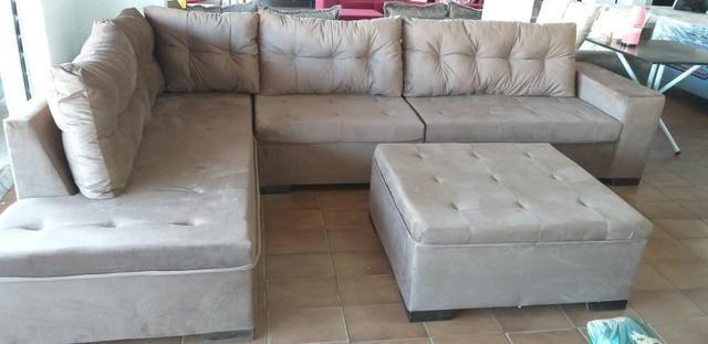 Sofa de canto athenas gigantesco 3.32x2.06 puff enorme apenas 1400 a vista - Foto 4