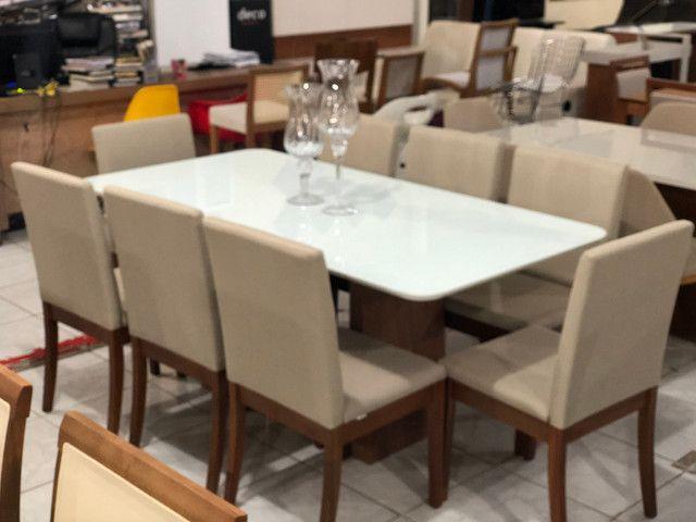 Sala de jantar RAVEL para 8 pessoas cadeiras de madeira maciça - Foto 2
