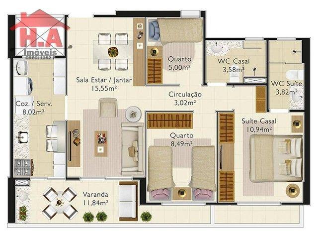 Apartamento à venda, 70 m² a partir de R$ 498.000 - Engenheiro Luciano Cavalcante - Fortal - Foto 17