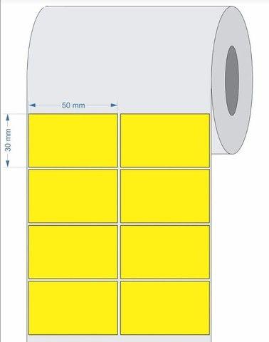 2 rolo etiqueta 50x30 (5x3) adesiva amarelo couche com 3.000 un por rolo. - Foto 4