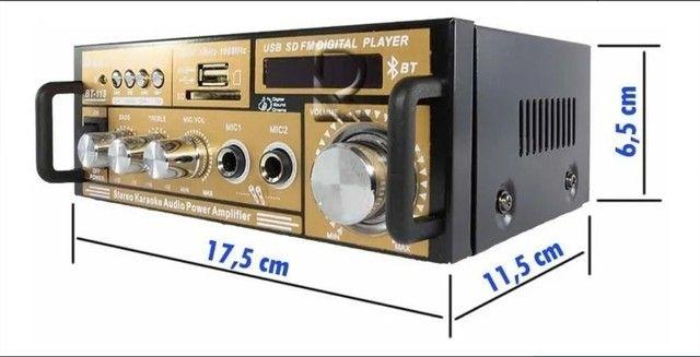 Mini amplificador modulo teli Bt-118 com bluetooth karaokê - Foto 4