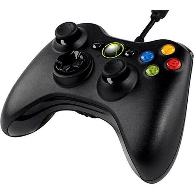 Controle Manete Com Fio Xbox 360 Joystick Barato Promoção - Preto  - Foto 2