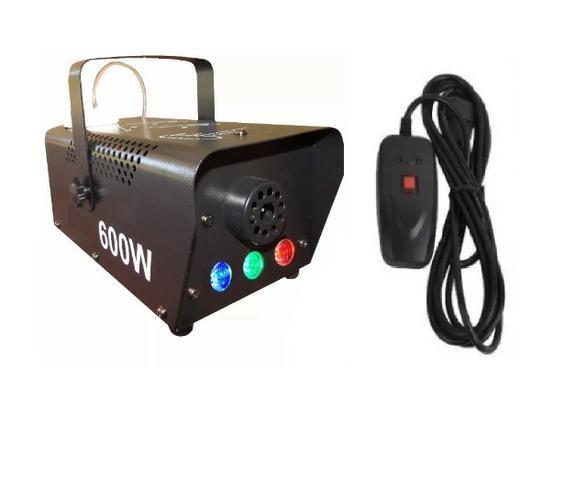Maquina De Fumaça 600w 110v Com Strobo Rgb Controle Com Fio