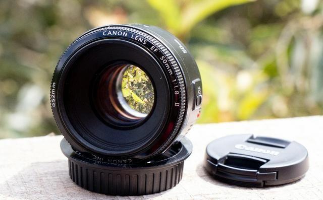 Objetiva Canon 50mm ef sem marcas, fungos ou avaria