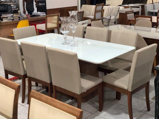 Sala de jantar RAVEL para 8 pessoas cadeiras de madeira maciça - Foto 3