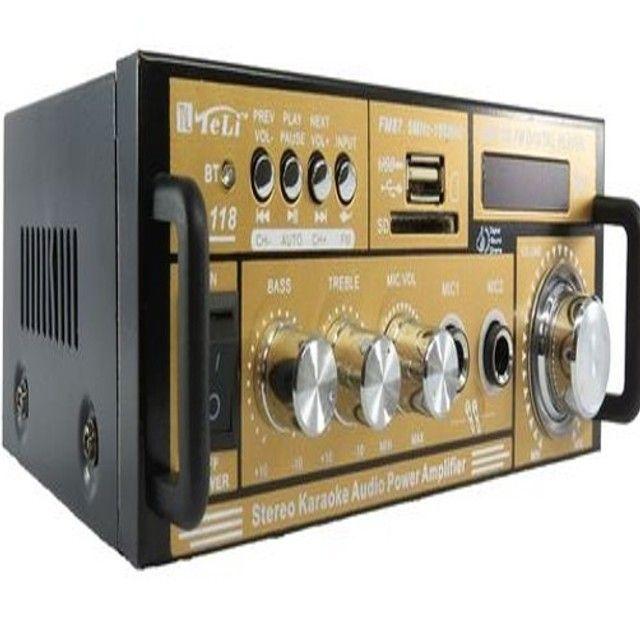 Mini amplificador modulo teli Bt-118 com bluetooth karaokê - Foto 2
