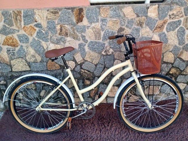 Bicicleta Aro 26 Mod Beach Retro Feminina C/ Cesta Marrom - Foto 3
