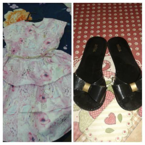 Vestido infantil pouco usado sandália Melissa 33/ 34