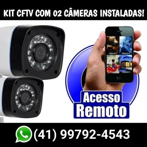 Kit Cftv completo com 02 câmeras instaladas