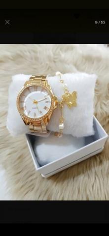 Relógio+pulseira folhada - Foto 3