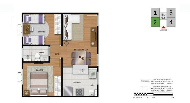 Apartamento 2Q região Noroeste 100% financiado entrada facilitada - Foto 2