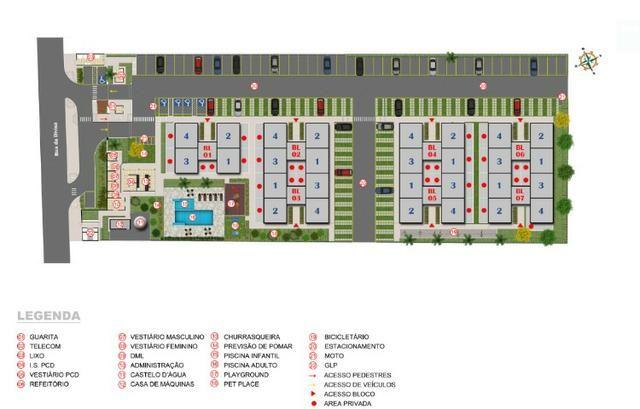 Apartamento 2Q região Noroeste 100% financiado entrada facilitada - Foto 3