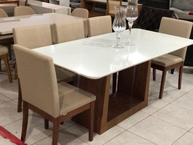 Sala de jantar RAVEL para 8 pessoas cadeiras de madeira maciça - Foto 4