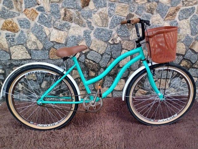 Bicicleta Aro 26 Mod Beach Retro Feminina C/ Cesta Marrom - Foto 5
