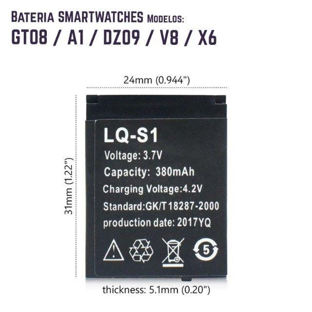 Bateria recarregável relogio smartwatch DZ09, QW09, W8, A1, V8, X6, GT08 - Foto 3