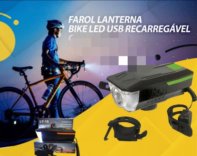 Lanterna bike recarregável super forte