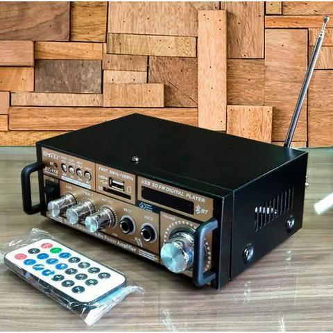 Amplificador Áudio Receiver 200w Bluetooth Usb Fm Karaokê Fm