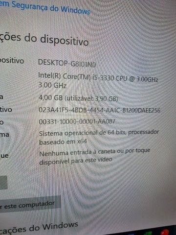 Vendo computador i5-3330 3.20ghz Monitor 20 polegadas HD500GB 4GB Windows 10 - Foto 3