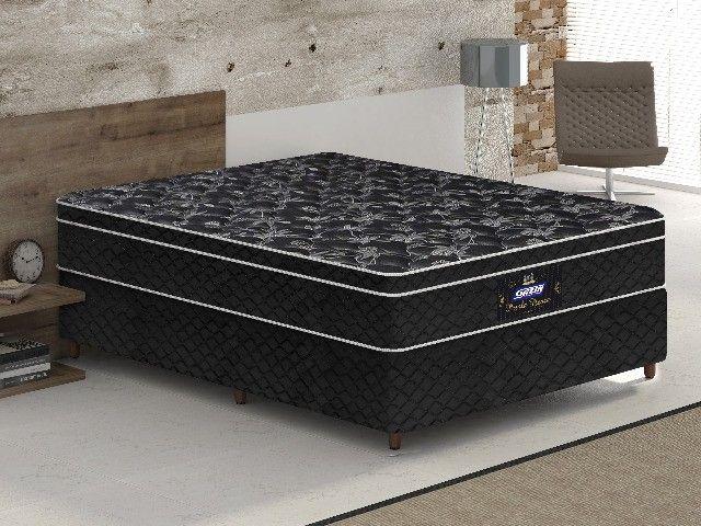 cama box casal base+colchão gazin novo