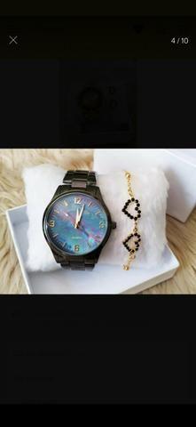 Relógio+pulseira folhada - Foto 5