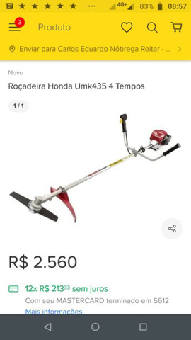 Roçadeira Honda 4 tempos - Foto 3