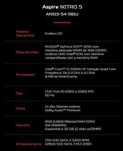 Notebook Acer Nitro 5 Gamer i5-9300H GTX 1050 Novo Caixa Lacrada