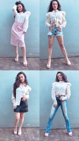Camisa manga bufante roupas femininas - Foto 3
