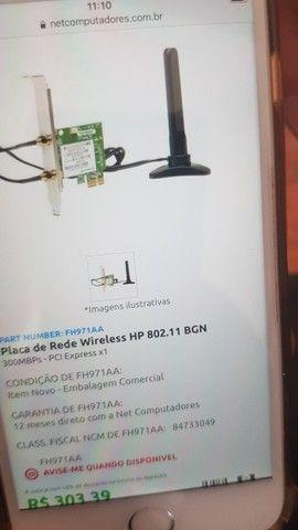 Placa de Rede Wireless HP original FH971AA c/ antena - Foto 4