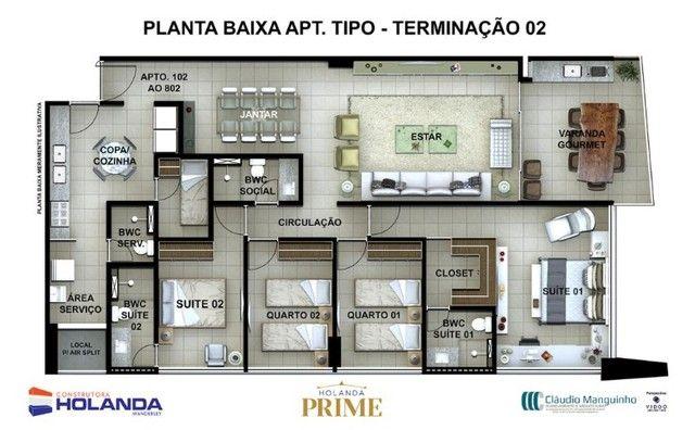 JS- Apartamento na Beira Mar de Casa Caida - 144m²   Varanda Gourmet Holanda Prime - Foto 9