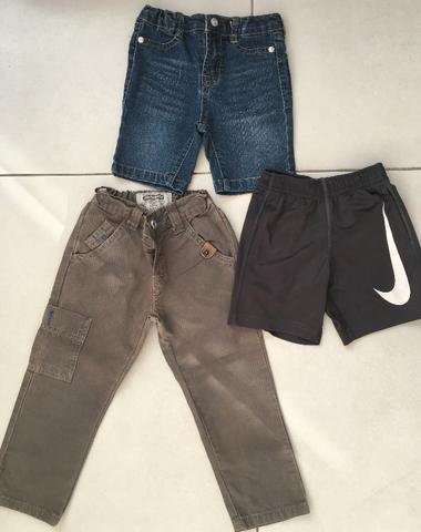 Shorts Nike e 7 for all mankind + calça Alphabeto de 3 anos