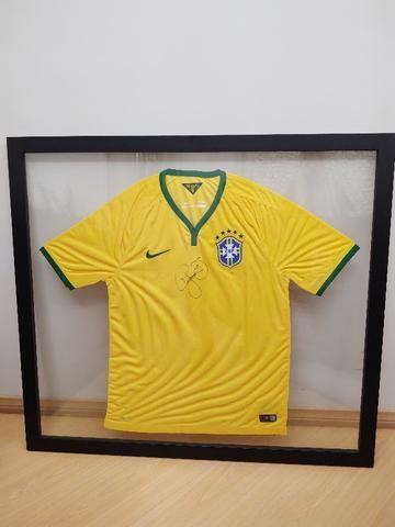 Camisa Brasil Autografada Neymar / Enquadrada
