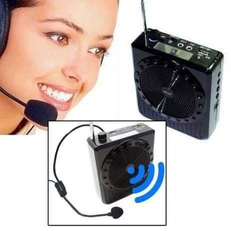 Megafone Amplificador Voz Microfone Professor Radio FM USB MP3 Fone Ouvido ,Aula Palestra