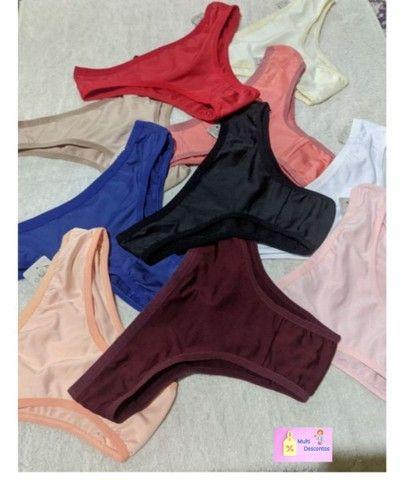 Kit 10 Calcinhas microfibra, Forro 100% algodão, preço de atacado lingerie roupas feminina - Foto 2